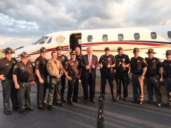 Republican nominee Donald Trump posed with a number of Ohio County deputies when he visited Wheeling and East Ohio during the election cycle.