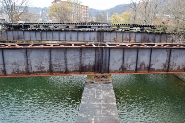 The mouth of Big Wheeling Creek has been very crowded by industry since Celoron's expedition.