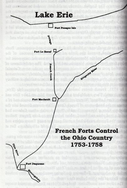 One page in Gallup's book on the Celoron Expedition displays how he traveled to the Wheeling area.