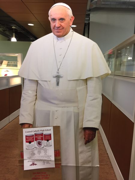 This life-sized cut-out of Pope Francis had helped reminds the student body of the importance of the annual food drive.