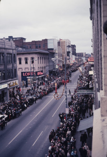 The city's annual Christmas Parade was held during the day and always attracted large crowds to the streets of the downtown area.
