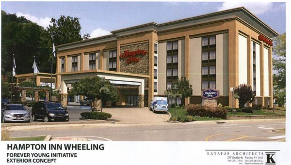 The Hampton Inn Wheeling will soon receive a facelift that will update the building's facade.