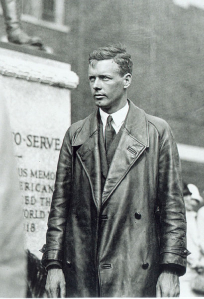 Charles Lindbergh at the Louis Bennett memorial statue. Photo from charleslindbergh.com