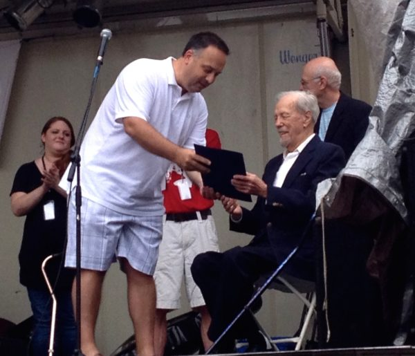 McKenzie presented Wheeling resident Hal O'Leary with an award during the 2014 Wheeling Arts Fest in June.