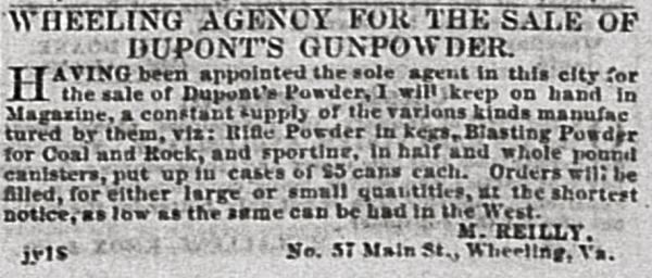 A Wheeling merchant's DuPont's Gunpowder newspaper ad.