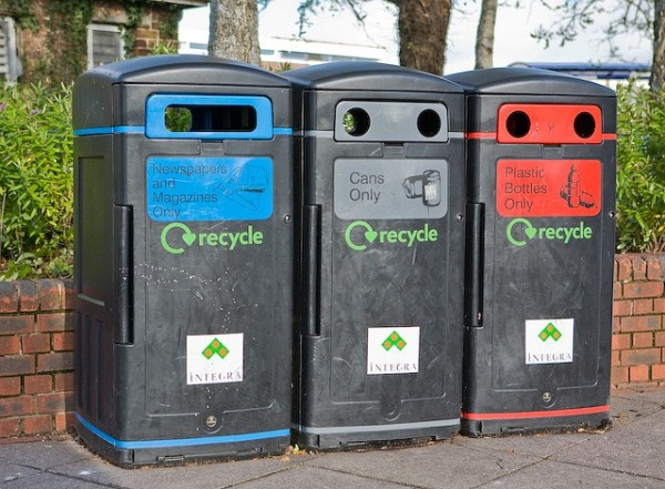 Recycling bins outside SOmerfield