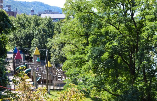 The Wheeling Junior League's Janie S. Altmeyer Playground is located just north of Heritage Port in downtown Wheeling.