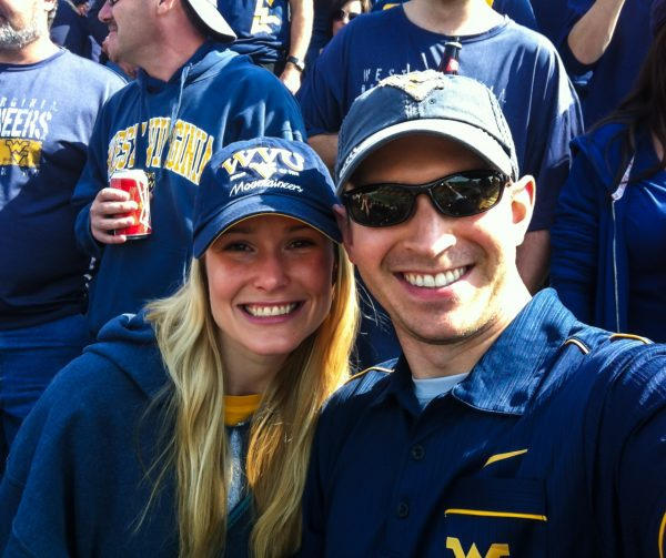 Derrick earned an undergraduate degree in marketing and a Master's in industrial relations from West Virginia University, and the couple tries to attend as many games and events as possible in Morgantown.