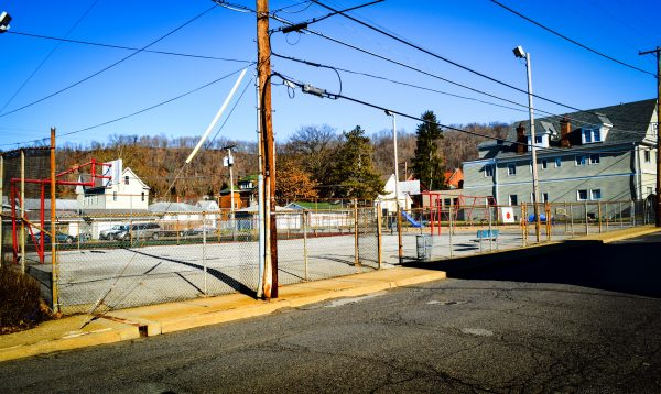 """""""The Lane"""" playground is till the site of many pick-up basketball games. The facility rests on the site of the former Edgington Lane School."""