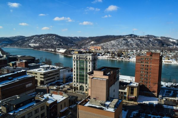 The picture window inside the CEO's office offers this stunning view of downtown Wheeling, the Ohio River, and the rolling hills of East Ohio.