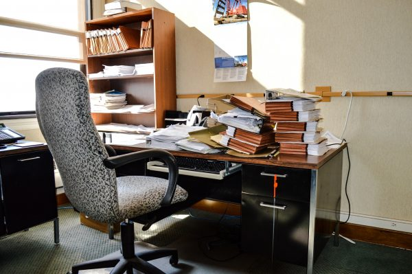 Several desks within the building were left untouched when layoff notices were delivered.