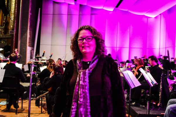 Mollie O'Brien rehearsed with the Wheeling Symphony Orchestra while the snow fell outside on Saturday afternoon.
