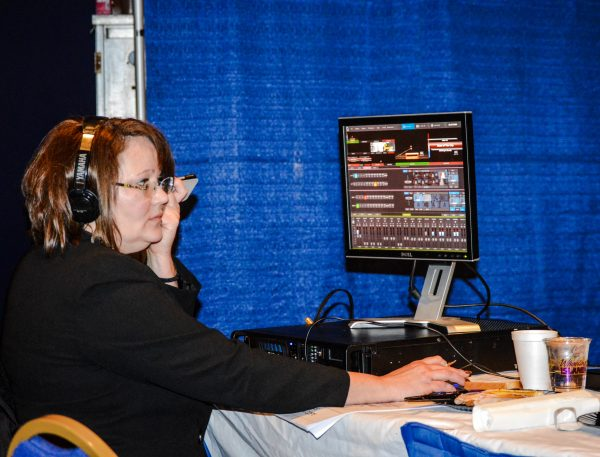 West Liberty University's Theresa Gretchen was on hand to coordinate the video streaming of the Address for WLTV 14.