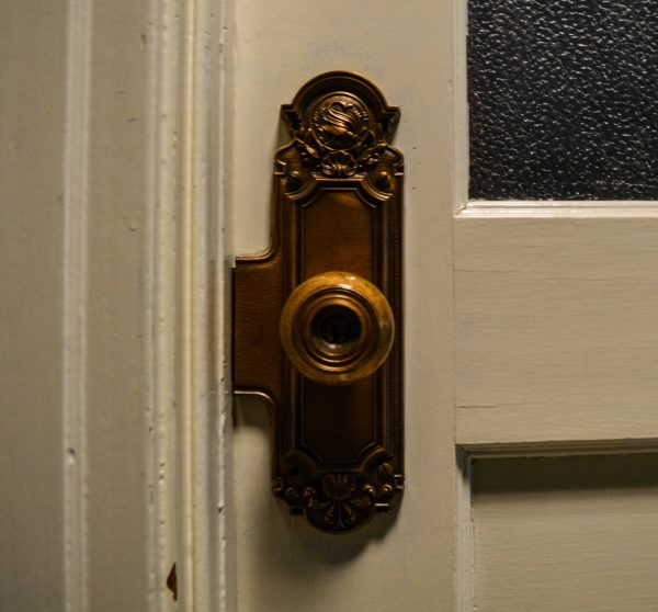 Schmulbach left his mark on the door knob fixtures in the building, some of which remain in place today.