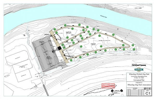 Supporters hope to break ground on the Wheeling Dog Park this year. The design currently calls for the park to be split into two fenced-off areas - one section for smaller dogs and one for canines that weigh more than 30 pounds.