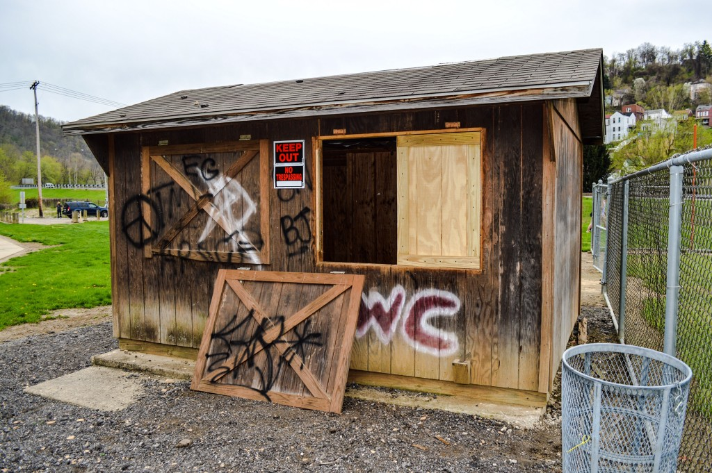 This shelter at the Tunnel Green complex recently was damaged by vandals.