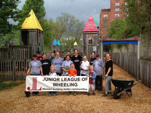 Ladies from Youth Services System and the Junior League of Wheeling joined forces to add mulch to the Altmeyer Playground near Heritage Point.