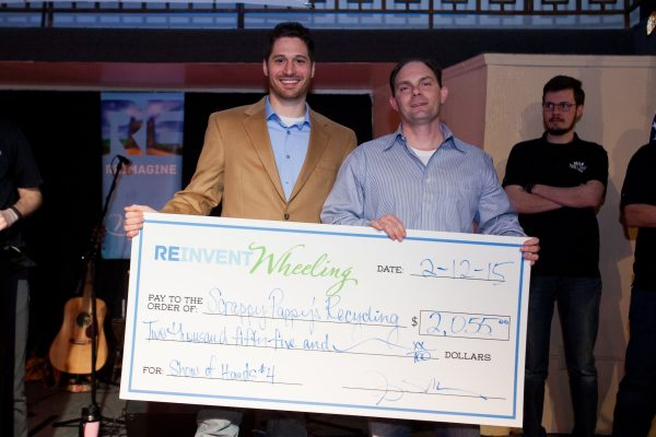 Jesse Mestrovic and Scott Ludolph were presented with the prize money after Scrappy Pappy's Recycling Center was named the winner in February.