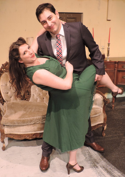 "Brian Braunlich starred as Mortimer Brewster and Gretchen Schneider played his sweetheart Elaine in Towngate's recent production to ""Arsenic and Old Lace."""