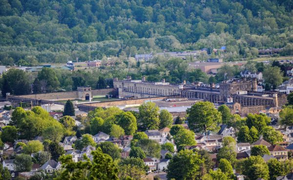The former West Virginia Penitentiary can be seen from the recently-constructed overlook at Grand Vue Park.