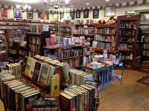 Inside the big-little bookstore on the hill.