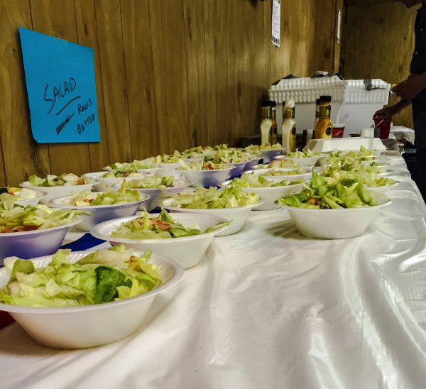 Plenty of salad is usually available at the steak fry.