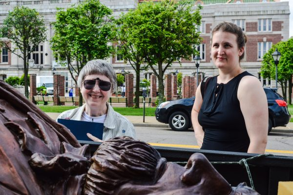 Historians Margaret Brennan and Rebekah Karelis played key roles with today's unveiling.