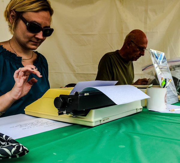 Bethany College's Jessie Janeshek, and Marc Harshman, the poet laureate of West Virginia, composed poems for donations to the annual Arts Fest.
