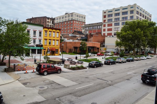 The south end of Market Plaza in downtown Wheeling has been renovated, and work has started on the north end.