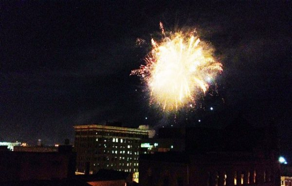 The Fourth of July fireworks can be seen and heard throughout Wheeling downtown area.