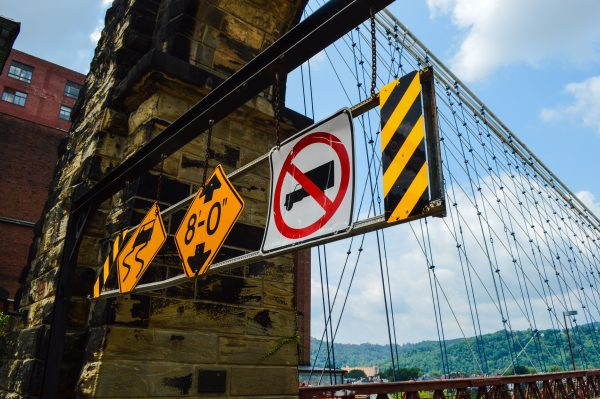 To help with enforcing and the 2-ton limit, DOH officials added these barriers on both end of the Wheeling Suspension Bridge.