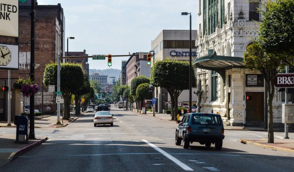 Main and Market streets in downtown flow as WV Route 2.