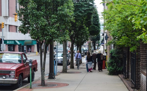 The sidewalks in the downtown are usually busy during the day, but not during the evening hours.