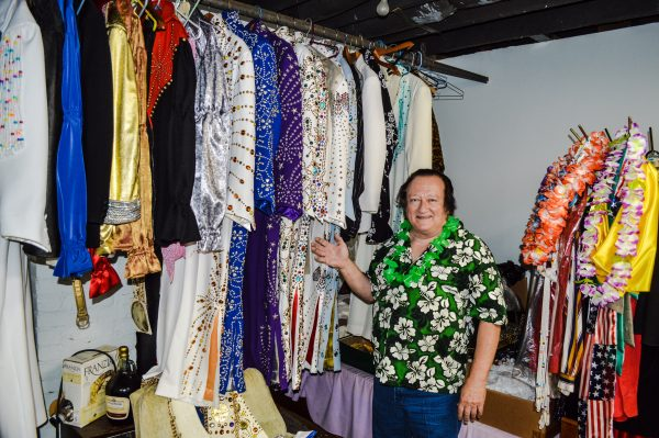 Brown with his Elvis Presley costumes.
