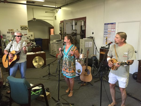 "Eric Wellman, Mary Blake, and Greg Pawlack perform as ""The New Age Adenas"" during ""Thrills in the Hills,"" a two-day, on air music festival offered local radio listeners on AM 1600 WKKX and AM 1370 WVLY."