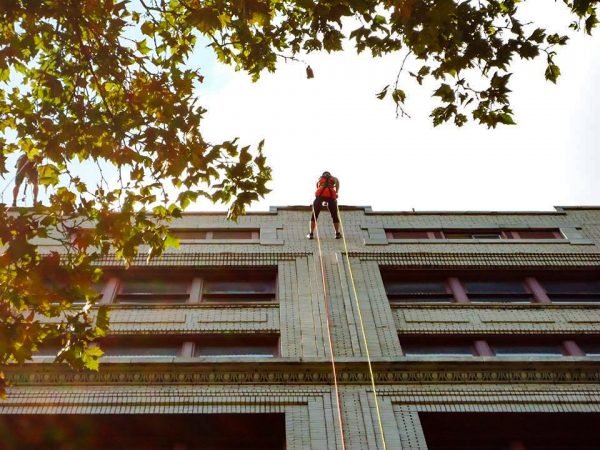 """Mey participated in the YWCA's """"Over the Edge Challenge"""" in August 2014."""