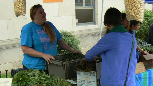 Kacey Orr, director of operations for Grow Ohio Valley, works the Farmer's Market in East Wheeling.