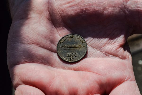 Capt. Brian Handzus of the Benwood Police Department found this coin beneath a drainage grate on the Bellaire Bridge.