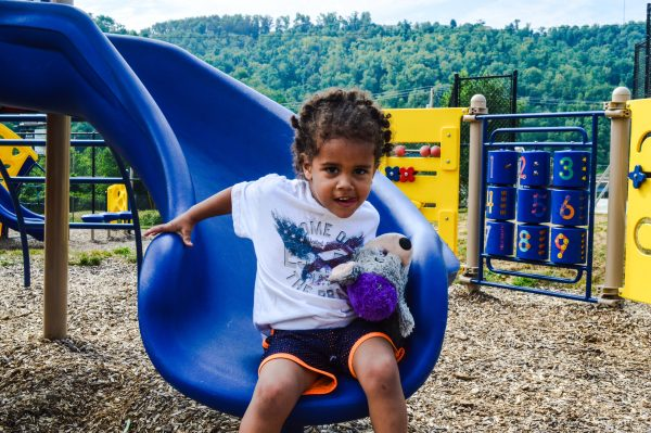 Byrd was taken to the playground by his grandfather Paul Kovach of East Wheeling.