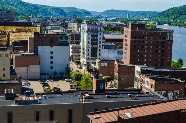 The last privately-funded construction project in downtown Wheeling too places in the early 1980s when Boury Enterprises built a company headquarters at 1233 Main Street. The building now, near the center of this photo, is now known as Century Plaza.