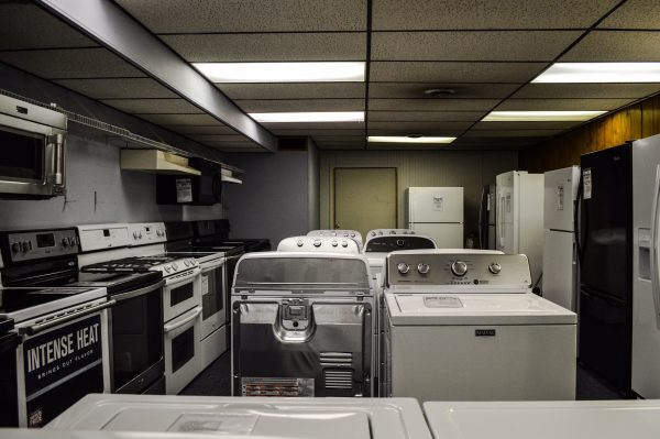The lower level of Duvall's is loaded with refrigerators, microwaves, washers and dryers, and ranges.