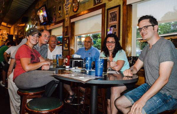 """One of the leading teams on Tuesday nights is """"The Roundtable,"""" a squad that includes members Jim Compansion, Beth Johnson, Lua Schmitt, Andrew Gompers, John Lavery, and Dan McNamara."""