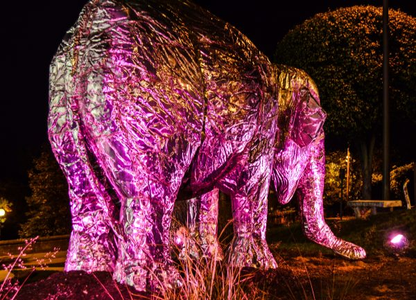 The elephant sculpture weighs a little more than 800 pounds.