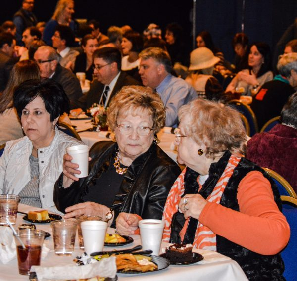 "Wheeling Councilwoman Gloria Delbrugge speaks with constituents during the ""State of the City"" Address earlier this year."