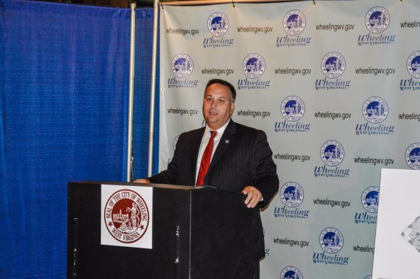 Wheeling Mayor Andy McKenzie addresses the gathering at the Boury Lofts announcement a few weeks ago.