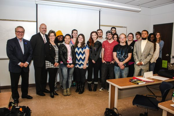 Allen (third from left) recently spoke to business students at West Liberty University.