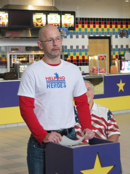 """Jeremy Harrison, who founded Helping Heroes along with his wife Susan was an invited speaker before the debut of """"Doughboy."""""""