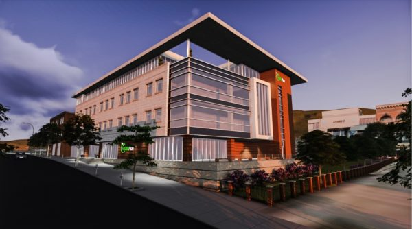 One of the renderings of the four-story facade that will locate within the 1100 block of the downtown district.