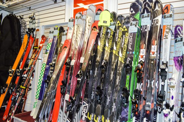 Alpine is stocked with more than 50 snowboards and pairs of skis, and 100 pairs of boots, bindings, and poles, as well as all garments, goggles, sunglasses, gloves, and socks.