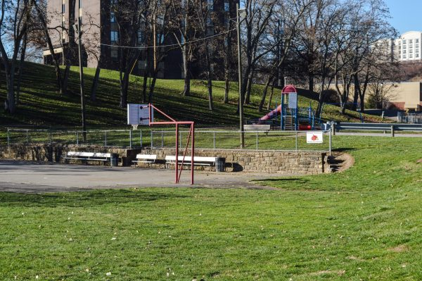 The Pleasanton Playground rests in the shadows of Wheeling Jesuit University.